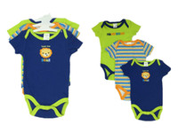 Cheap 3pcs lot Baby Boy Romper Sayings kickin it with daddy and cool lil' dude Short sleeve Romper ,Baby Boy clothing 0-3,3-6 months