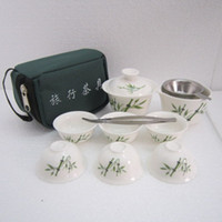 tea set - Dehua Porcelain Jade Travel Tea Sets10 piece set kung fu tea set portable travel tea suit with bag