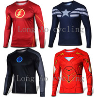 american apparel men t shirts - Super heroes Long sleeves superman captain american cartoon heroes league jersey apparel T Shirt Cycling Clothing XS XL