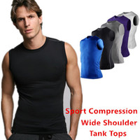 cycling jersey wholesale - Cycling Compression Sleeveless Wide Shoulder Jerseys Mens Base Layer Quick Dry Tank Tops Vest Shirt Size S XXL TP94