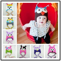 beannie babies - High quality colors Handmade Knitted Crochet baby owl hats with ear flap Toddler infant winter caps Knit beannie earflap