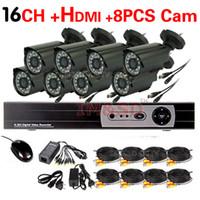 achat en gros de kits de caméra dvr-Accueil 8CH CCTV système de caméra de sécurité 16CH HDMI DVR Jour extérieur IR Bullet caméra DIY kit couleur vidéo système de surveillance