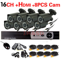 Wholesale Home CH CCTV Security Camera System CH HDMI DVR Outdoor Day Night IR Bullet Camera DIY Kit Color Video Surveillance System