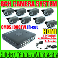 Wholesale HDMI Security CCTV System ch CCTV DVR Recroder Full D1 recording CMOS TVL Waterproof IR Camera DVR Kit