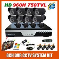 8 Canal CCTV Kit de 960H Effio 750TVL OSD Impermeable de Vídeo de la cámara de Vigilancia 8CH Casa negro Mini Bala de la Cámara de Seguridad del Sistema