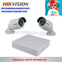 al por mayor hikvision 4 canales kit-Cámara Kit HIKVISION 4CH PoE NVR + 3MP HD PoE exterior de infrarrojos IP 2PCS ENVÍO GRATIS DS-7104N-SN / P + DS-2CD2032-1 2PCS