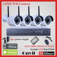 Sistema de cámara CCTV inalámbrica 8CH NVR 2TB HDD de Onvif 1080P HD H.264 IP WIFI Mini Bullet Home Video Vigilancia Cámara de seguridad
