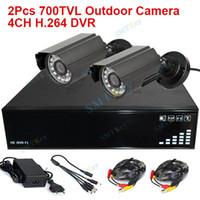 Mini DVR Vídeo Sistema de grabación 4CH Mini DVR y exterior de infrarrojos sistema de seguridad de bricolaje cámara del cctv impermeable 2pcs 700TVL