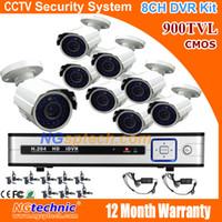 al por mayor la visión de la cámara del cctv 8ch-Imagen en color de la visión nocturna 900TVL IR de la vigilancia CCTV Cámara Bullet 8ch cctv impermeable sistema de cámaras de seguridad al aire libre kit de bricolaje
