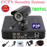 Al aire libre monitor de video vigilancia de seguridad cctv negocio en casa kit de la cámara 700TVL bala alarma térmica de 4 canales sistema de audio mini-DVR