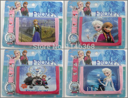 Wholesale-10pcs lot,Anna Elsa Olaf Kids Cartoon Watches Sets with Purse Wallet for Little Girls Gift montre enfant watch orologio bambino