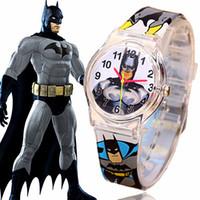 Wholesale HOT SALE Best Gift Fashion Unique Batman Cartoon Watch Boys Kid Children Wristwatch M Waterproof Quartz Watch High Quality2015