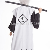 Wholesale Anime Bleach Cosplay Costume Kyouraku Shunsui White Cloak Coat Captain Cloak Not Include Black Kimono New