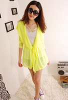 air conditioner shirt - Thin multicolour sun protection clothing neon with a hood loose thin air conditioner shirt long design cape cardigan female