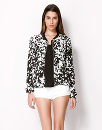 Wholesale 2015 Autumn New Brand Women Retro Milk Cow Pattern Print Round Neck White amp Black Hit Color Jacket Ladies Casual Short Coat jk11