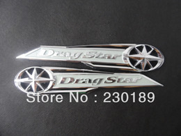 Wholesale 5pair Drag Star Classic Chrome Gas Tank Badge Emblem Badge Decal Silver Fits For Yamaha Vstar XVS XV