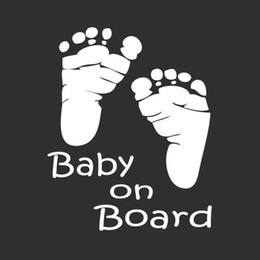 Wholesale Car Stickers Cool Cute Baby on Board Car Styling Motorcycle Sticker Vinyl Decal Waterproof Footprint Car Accessory