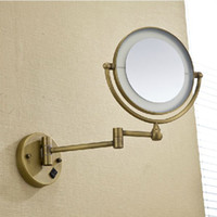 bathroom mirrors with light - High quality quot Brass Antique x3 magnifying bathroom wall mounted round led cosmetic makeup mirror With lighting Mirror F