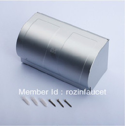 Wholesale Aluminium Finish Double Roll Toilet Paper Holder w Waterproof Space