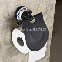 bathroom toilet rack - Ceramic Style Printing Bathroom Toilet Paper Rack w cover Wall Mounted Solid Brass Roll Toilet Tissue Holder