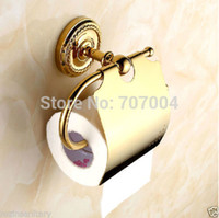 paper plate holders - And Retail Fashion Wall Mounted Gold plate Toilet Paper Holder With Cover Bathroom Roll Paper Rack