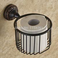bathroom wastebasket - Bathroom Accessories Black bronze copper antique wastebasket paper towel holder cosmetics basket toilet paper holder H91353R