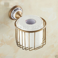 bath storage basket - Antique Brass Finished Shower Caddy Bath Bathroom Organizer Storage Basket Wall Mounted Toilet Roll Paper Holder