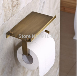 Wholesale Wall Mounted Antique Brass Bathroom Toilet Paper Holder Tissue Bar Hanger Square Bath Accessories Storage
