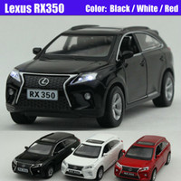 diecast model car - 1 Scale Alloy Diecast Metal Car Model For LEXUS RX350 Collection Model Pull Back Toys Car With Sound Light Black Red White