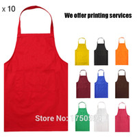 bib store - 10Pcs Unisex Restaurant Home Kitchen Cooking Store Craft Work Solid Color Apron With Pockets Waiter Bibs Printing Logo