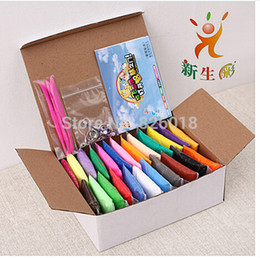 Wholesale 20g Bag Colors Box with tools Hot selling Colorful Soft Polymer Modelling Clay super light clay good package dry in air