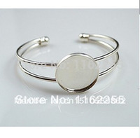 Wholesale Bracelet With MM Pad Cuff Adjustable Silver Plated cuff bracelet blank bracelet blanks Sold Per