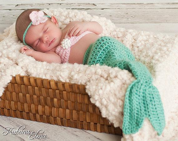 wholesale 2015 newest infant mermaid costume hand made photo shoot baby little fish halloween mermaid tail cocoon set 0 4 months halloween costume cowboy - Baby Mermaid Halloween Costume