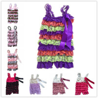 Wholesale Petti Lace Romper Multicolor Baby Rompers Infant Clothes With Ribbon Newborn Jumpsuit Ruffle Clothing