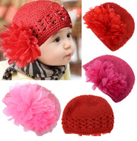 kufi hats - Winter Warm Cute Baby Infant Kufi Hat Toddler Crochet Baby Beanie Knitted Cap with Large Lace Flower Retail