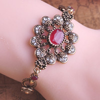Wholesale Hot Selling Classic Loyal Turkey Ruby Acrylic Jade Vintage Bijoux Bracelet Bangle Accessories Sapphire Jewelry Pulsera Free
