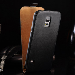 Wholesale-Luxury Genuine Leather Flip Case for  Galaxy S5 i9600 Phone Bag Durable Cover Black White Rose Brown Drop Ship YOTONE