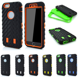 "Wholesale-Tire Dual Layer TPU + Hard Plastic 3 in 1 Armor Hybrid Protection Back Case For  6 Plus 5.5"" phone Cases"