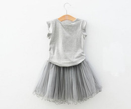 Wholesale-2015 Summer Fashion Children 2PC Clothing Set Elegant Perfume bottle T Shirt + TUTU Skirt Gray Girls Set Kids Suit