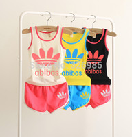 baby jogging suit - Brand new Children Shampooers Tracksuits Boys Jogging Sport set vest shorts kids baby clothing girls Summer clothes Suit