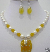 Jade Earrings & Necklace  YELLOW JADE PEARL ELEPHANT SILVER EARRINGS NECKLACE