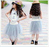 Cheap Wholesale-2015Korean Baby Clothes New Pattern Korean Girls Solid Color Gauze Letter T-shirt Skirt Suit Kids Clothes 5pcs lot lca