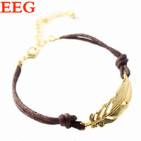Cheap Loom Bands Hot Sale New 2015 Fashion Jewelry For Women Bracelets & Bangles Metal Feather Joint Wax Rope Ladies Gold Bracelet