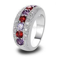 band garnet ring - Round Cut Garnet amp Amethyst Silver Band Ring Size New Fashion Jewelry For Women