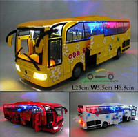 antique pull toys - Tourist Bus Car Model Five Open Door Pull Back Acousto optic Toys Car Classic Alloy Antique Car Model