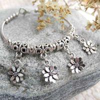 fashion jewelry dropship - little flower bracelets cheap tibetan silver bangles fashion jewelry cute women girls gifts bracelet new dropship