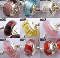 al por mayor perlas de vidrio base de plata-550pcs perlas de cristal de Murano encantos plata plateado solo núcleo del grano encanto mezcla 20 estilos encajan pulsera