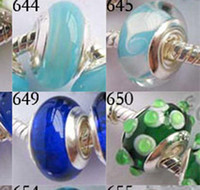 glass beads - 150pcs mm Murano Glass Beads charms silver plated single core bead Charms mixed styles