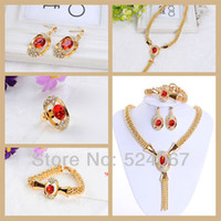 africa jewellery - Africa Style Jewellery Sets Gold Plated Red Zircon Set Necklace Earrings Bracelet Ring