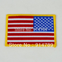 american flag borders - AMERICAN US FLAG EMBROIDERED INSIGNIA SHOULDER PATCH GOLD BORDER